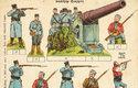 Během 1. sv. války vycházela řada vystřihovánek s vojenskou tématikou, včetně figurek vojáků