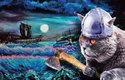Kočky na vikingských lodích plnily roli lodních hlídek, ale se sekerou se nám také líbí!