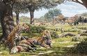 Nový pohled na severoamerický ekosystém před koncem doby ledové: Smilodoni s uloveným tapírem a pravlci, kteří pronásledují stádo bizonů