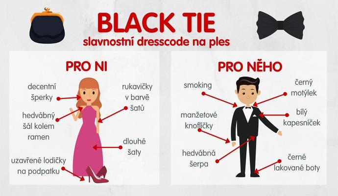 Pokud pozvánka neříká jinak, oblečte na prestižní plesy vždy black tie.