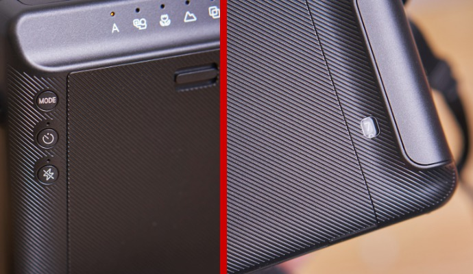 Kolik snímků vám ještě zbývá k vyfocení vidíte v okénku na zadní straně Instaxu. Zvolený mód zas označuje svítící kontrolka. Digitální displej není vůbec třeba.