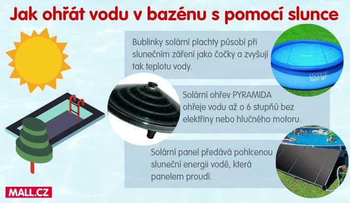 Sluneční energii vám v bazénu pomůžou zužitkovat tři typy jednoduchých zařízení.