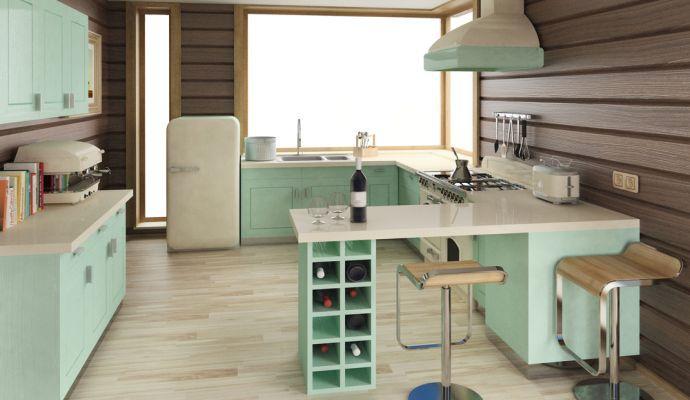 Retro kuchyně si libují v neobvyklých odstínech, zvolte klidně pastelové nebo křiklavé.