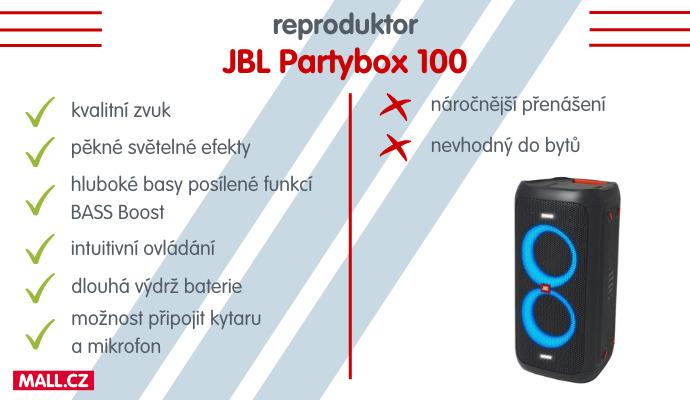 Reproduktor JBL Partybox 100 je skvělá volba pro každou párty.