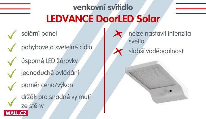 Venkovní svítidlo LEDVANCE DoorLED Solar hodnotíme v poměru cena/výkon skvěle.